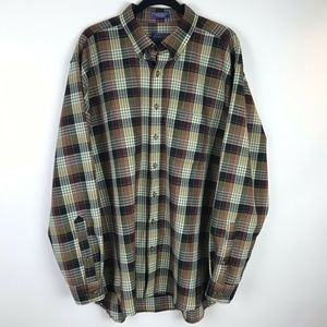 Sir Pendleton Wool Shirt Green Brown Plaid Wool